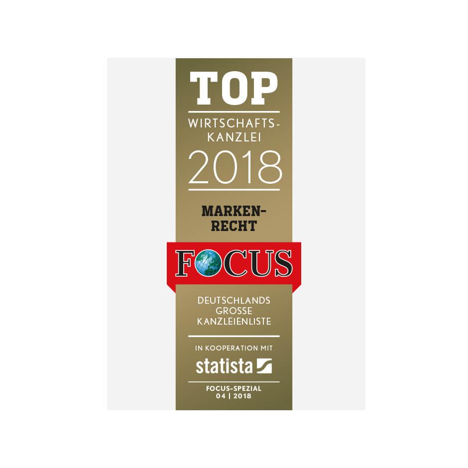Top-Wirtschaftskanzlei<br>im Bereich Markenrecht 2018