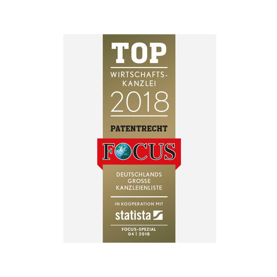 Top Wirtschaftskanzlei<br>im Bereich Patentrecht 2018