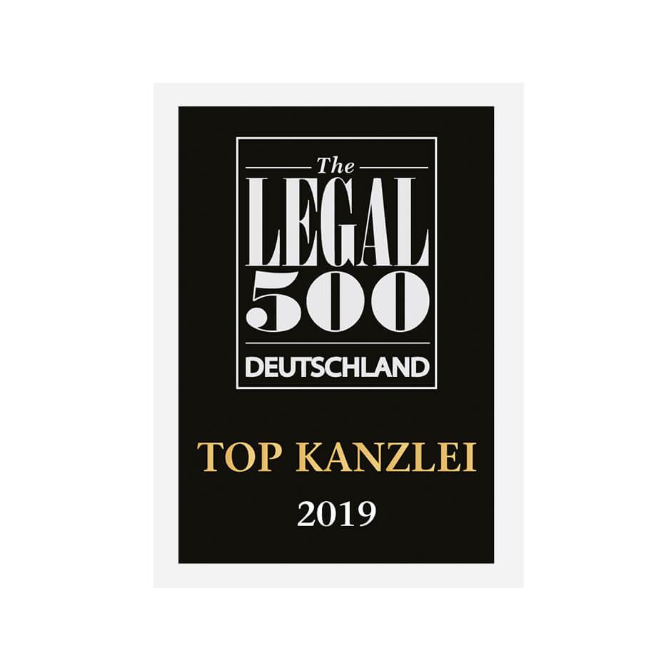 TOP KANZLEI 2019 Legal 500 Deutschland