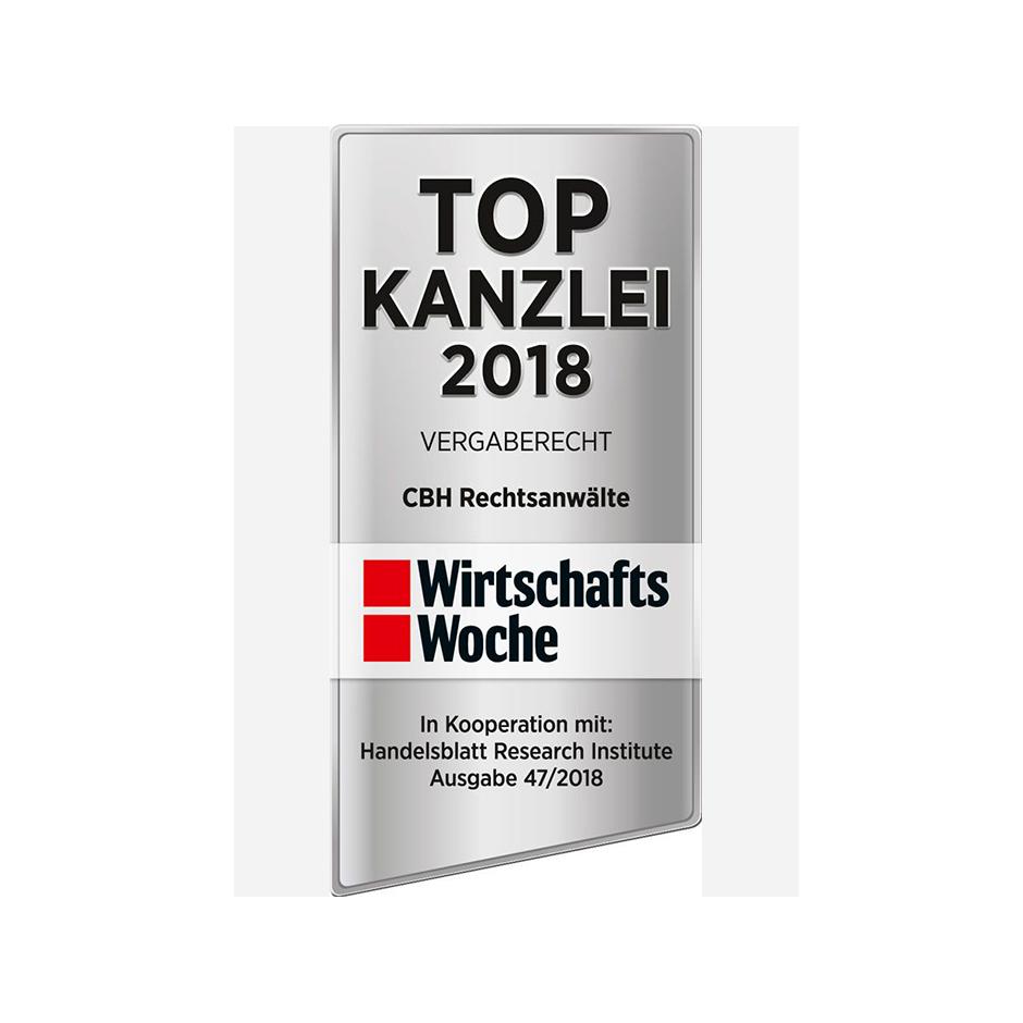 WirtschaftsWoche-Ranking: CBH zur TOP Kanzlei 2018 im Vergaberecht ausgezeichnet